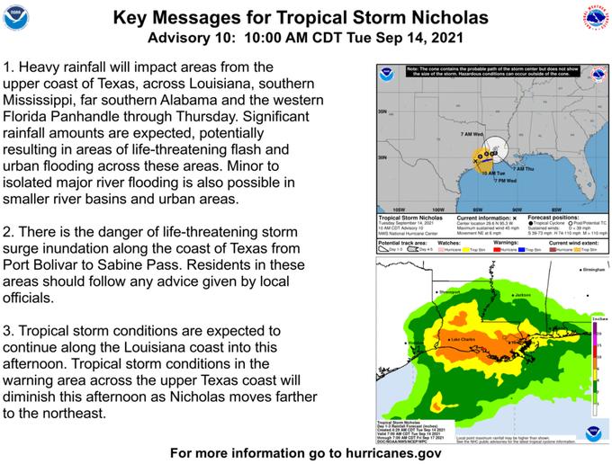Tormenta tropical Nicholas avanza lentamente a través de Texas